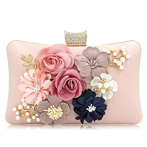 PARADOX (LABEL) Women Flower Clutches Evening Handbags Wedding Clutch Purse (Rose Gold)