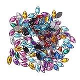 Healifty 150 unids acrílico Flatback Coser Diamantes de imitación Gemas de Cristal para Manualidades Bricolaje artesanías Bolsa de Ropa Zapatos Decoraciones (Colores Mezclados)
