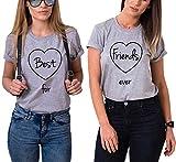 Best Friends T-Shirts für Zwei Damen 2 Stücke Beste Freundin mit BFF Freunde Shirt Freundschaft Baumwolle Sommer Tops(Best-S+Friends-S)