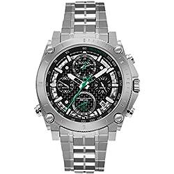 Bulova Men's Designer Chronograph Watch Stainless Steel Bracelet - Black W/ Green Precisionist Wrist Watch 96G241