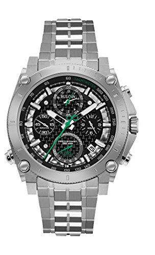 Bulova Men's Designer Chronograph Watch Stainless Steel Bracelet - Black W/Green Precisionist Wrist Watch 96G241