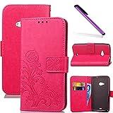 COTDINFOR Nokia Lumia 535 Hülle für Mädchen Elegant Retro Premium PU Lederhülle Handy Tasche im Bookstyle mit Magnet Standfunktion Schutz Etui für Nokia Lumia 535 Clover Red SD.