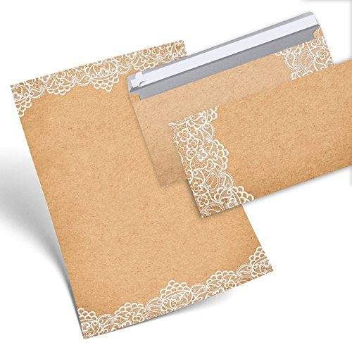 SET 12 Blatt Briefpapier VINTAGE SPITZE weiß beidseitig bedruckt 100g DIN A4 Brief-Bogen + 10 Stück nostalgie Umschlag Kuvert DIN Lang antik alt vintage rustikal natur braun beige