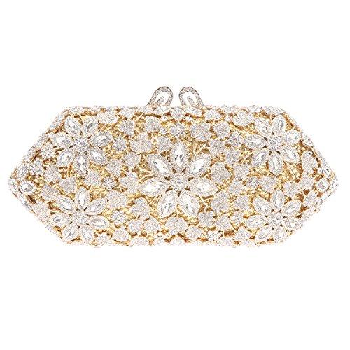 Bonjanvye Shining Blossoming Flower Purses Crystal Handbags for Girls Rose Gold Gold