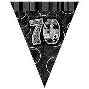 Unique Party- Banderines cumpleaños, Color negro, edad 70 (90807)