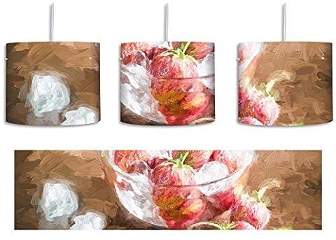 Frische Erdbeeren in Eiswürfeln Pinsel Effekt inkl. Lampenfassung E27, Lampe mit Motivdruck, tolle Deckenlampe, Hängelampe, Pendelleuchte - Durchmesser 30cm - Dekoration mit Licht ideal für Wohnzimmer, Kinderzimmer, Schlafzimmer