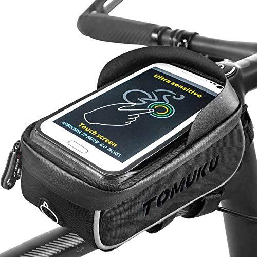 Tomuku olsa Bicicleta, Bolsa Móvil Bicicleta, Bolsa Protectora Cuadro Bicicleta de móviles de hasta 6 '. Soporte Bolsa Bici Impermeable con Pantalla táctil para móviles (Negro2)