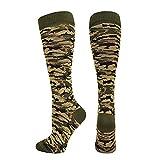 Tleegu-Women sockCompression Sock Women Men Camouflage Sports Travel Shin Knee High Sock(Army Green,S)