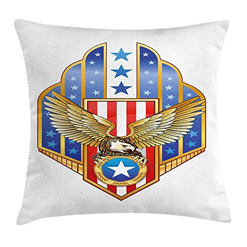 K0k2t0 Eagle Throw Pillow Cushion Cover, Heraldic Illustration of Symbol of Freedom Golden Winged Eagle with Flag of States, Decorative Square Accent Pillow Case, 18 X 18 inches, Gold Red Blue -