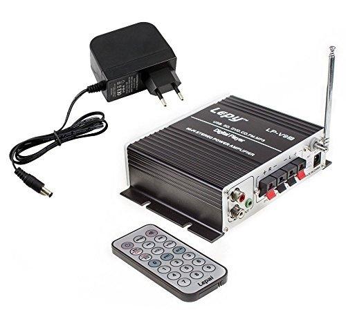 Lepy LP-V9S Amplificador digital de potencia estéreo Hi-Fi con USB SD DVD FM CD portátil Consumidor MP3 con 3A Suministro y Control Remoto