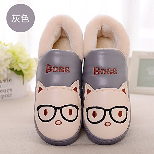 DogHaccd pantofole,La sig.ra Inverno paio di pantofole di cotone di spessore soggiorno nella bella eleganti scarpe antiscivolo pantofole caldi maschio Grigio in pelle4