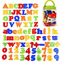 Chougui 78 Pieces Magnetic Letters and Numbers for Educating Kids - Educational Alphabet Refrigerator Magnets ABC Magnets Including Uppercase, Lowercase, Number and Math Symbols