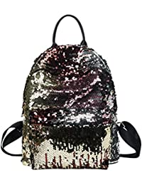 Tinksky Bling Sequins Paillette Mochila Casual Deporte al aire libre de senderismo Daypacks regalo de cumpleaños de Navidad para las mujeres Chicas (de oro)