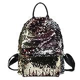 LUOEM Sequin Rucksack Fashion Shiny Bling Glitzer Sequins Rucksack Casual Outdoor Sport Wandern Daypack für Mädchen Frauen (Golden)