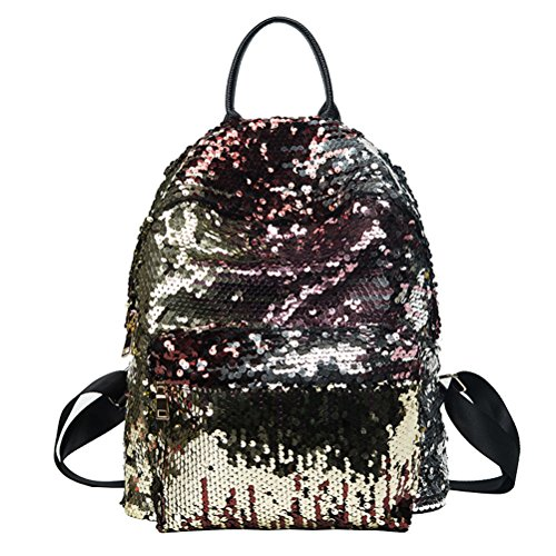 Tinksky Bling Sequins Paillette Zaino Casual Outdoor Sport Escursioni Daypacks Regalo di compleanno di Natale per le donne Girls (Golden)
