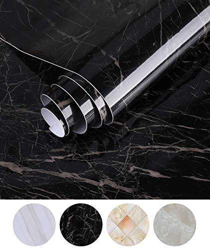 Dekorative Folien (Oxdigi Marmor-Kontaktpapier, 61 x 48 cm, dekorative selbstklebende Folie, für Küchenmöbel, Arbeitsplatten, Schränke, Regale, wasserdichte und abnehmbare Tapete schwarz)