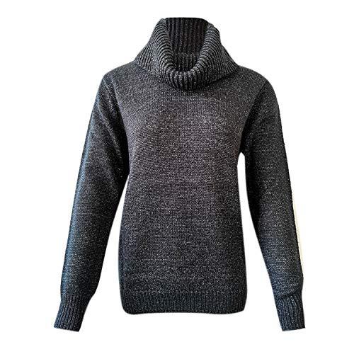 LAEMILIA Chandail Col Roulé Femme Pull Chaud Hiver Mohair Tricôté Pullover Kintwear SweaterNoirEU 36(Tour de poitrine94cm)