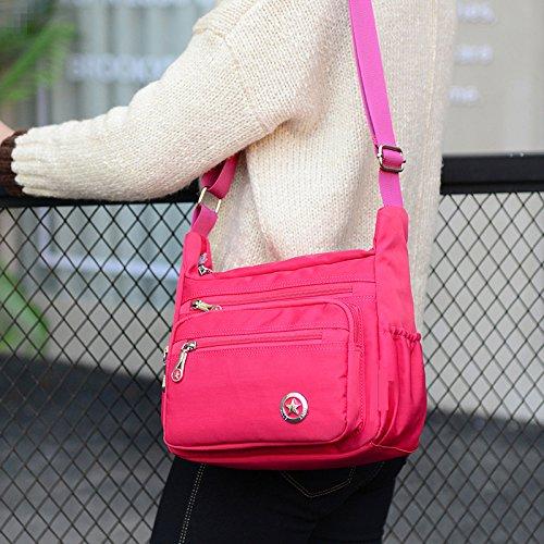 Lässige Umhängetasche für Damen, wasserdicht, aus Nylon, Messenger-Tasche Rose