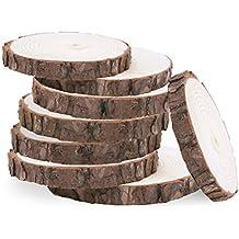 WINOMO 10pcs 10-12CM Registro de madera rodajas de discos Adorno manualidades de madera para