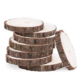 WINOMO 10pcs 10-12CM Registro de madera rodajas de discos Adorno manualidades de madera para bricolaje centros de mesa de boda