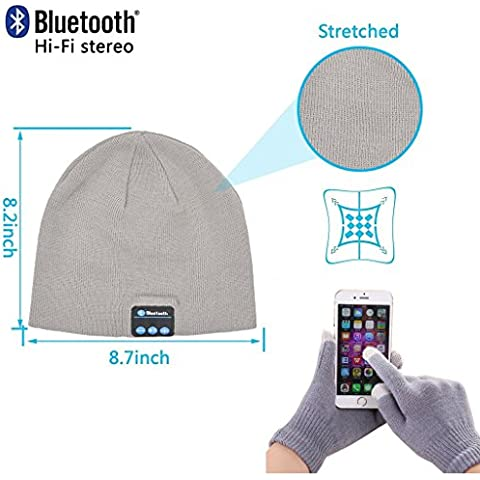 Fone-Case HTC Desire 626 (USA) (Light Grey) Wireless Bluetooth Cappello con Cuffie stereo altoparlante auricolare e vivavoce incorporato e Touchscreen Guanti con 3 dita d