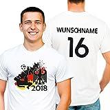 Deutschland Fußball WM 2018 Trikot Premium T-Shirt personalisiert mit Wunsch-Name und Nummer Gr. M