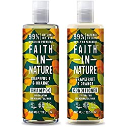 Fede nella natura shampoo con balsamo, 400ml, pompelmo e arancione