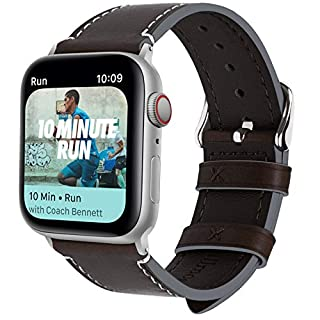 Fullmosa 8 Colors Compatible Apple Watch Strap 44mm Leather, Vintage Calf Leather Compatible with Apple Watch Series 4, Apple Watch Nike+ Series 4 Band iWatch Strap, 44mm Coffee+Silver Buckle