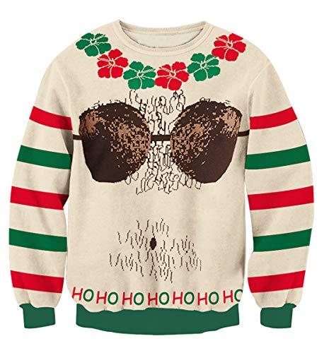 n Weihnachtspullover Strickpullover Top 3D Druck Pullover Weihnachten Jumper Ugly Christmas Sweater XL ()