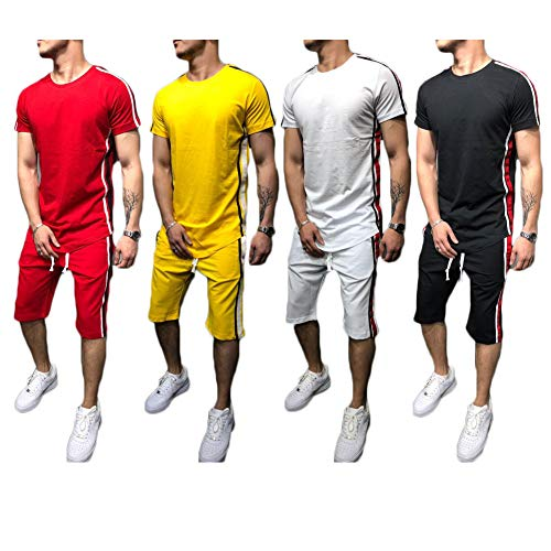 Herren Sport Outfit Set Frühling Sommer lässig O Hals Kurzarm Slim Fit T-Shirt Tops + Short Track Hosen Kleidung Set 2 Stück für Training Workout Fitness Jogger (L, Weiß) -