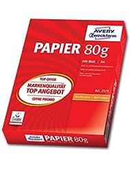 AVERY Zweckform 2575 Drucker-/Kopierpapier (DIN A4 Papier, 80 g/m², 500 Blatt, alle Drucker) weiß