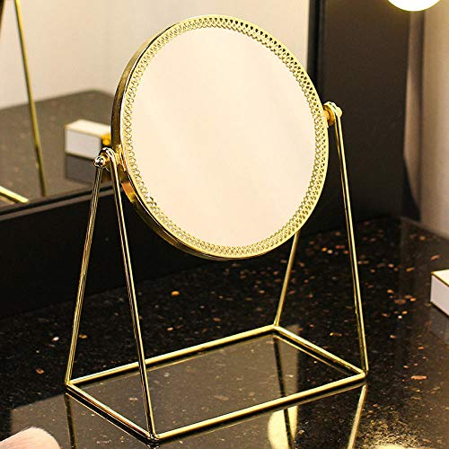 YCCYI Mesa De Espejo De Maquillaje-Espejo Redondo Estilo Retro Dorado