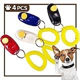 Clicker Addestramento Di Cane Educazione Animali Insegnamento Obbedienza Cinturino da Polso Nero Rosso Blu Bianco 4 Pcs
