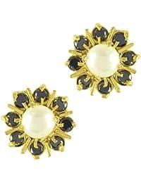 Adiva Kundans Jewellery Black Metal Alloy Studs Earrings For Women