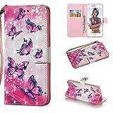 HICYCT Coque iPhone 6S Plus/Coque iPhone 6 Plus,Etui en Cuir de Première Qualité avec Les Fentes de Carte et Stand pour iPhone 6S Plus/6 Plus(Papillon Rose)