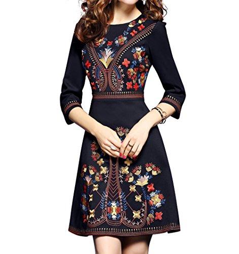 LAI MENG Damen Abendkleid Elegant Skaterkleid mit Blumenstickerei 2/3 Arm Partykleid Cocktailkleid