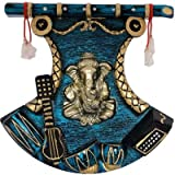 #5: JaipurCrafts Antique Wall Hanging Of Lord Ganesha with Guitar Showpiece - 43.18 cm (Plastic, Multicolor)