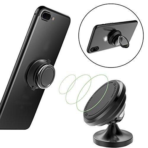 NAWINNER supporto magnetico universale supporto magnetico da auto Phone supporto con anello di supporto per telefono, per iPhone x, iPhone 8/8Plus, iPhone 7/7Plus, Samsung Galaxy, HTC, LG, ZTE