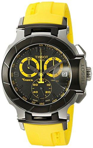 t-race analogico uomo cronografo quadrante nero cinturino giallo