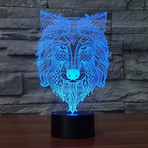 3D Led 7 Farbwechsel Usb Abstrakte Stammes Wolf Kopf Modellierung Atmosphäre Schreibtischlampe Wohnkultur Geschenke Beleuchtung Tier Nachtlicht