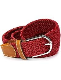 Cinturón Elástico Trenzado Unisex Urcover | Correa Elástica Trenzada Hebilla Plateada [65% Poliester + 35% Elastán] Confortable | Hombre y Mujer