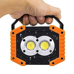 FONCBIEN Luz de Trabajo LED Recargable – Foco LED 20W 1500LM COB Recargable, 3 Modos, Resistente al Agua, Luz de Trabajo