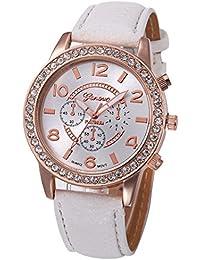 Kinlene Moda reloj de mujer ginebra diamante relojes de pulsera de cuarzo de cuero analogico casual lujo (White)