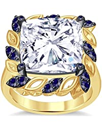 Silvernshine 6Ctw Cushion&Round Cut Blue Sapphire CZ Diamonds 14K Yellow Gold PL Engagement Ring