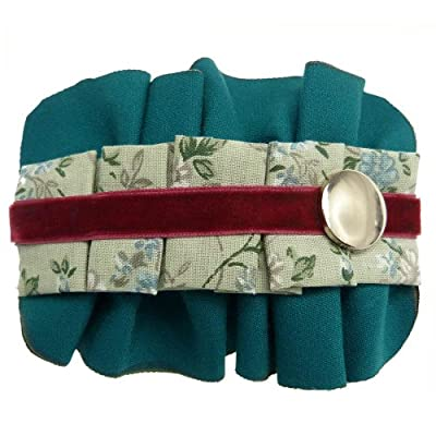 Pince à cheveux fins barrette plissé bleu canard coton motif floral velours vert rétro