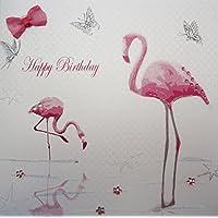 WHITE COTTON CARDS Happy, Handmade Birthday Card (Flamingo