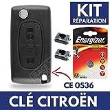 Boitier / Coque de Télécommande Clé Plip CITROEN C4 Picasso Berlingo C2 C3 C5 Jumper  Switch  Pile CR1620 ENERGIZER