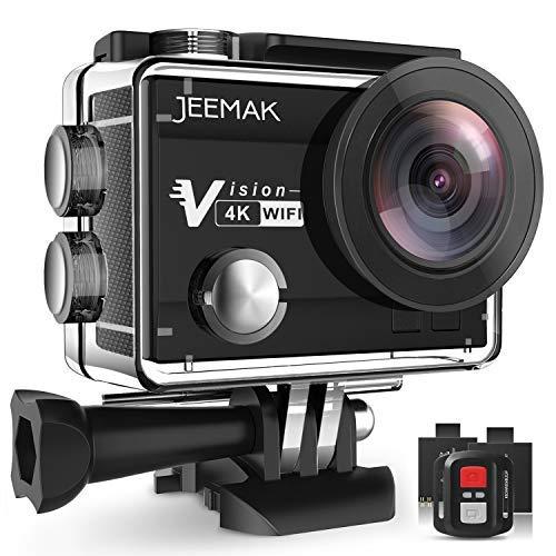 JEEMAK Action Cam WiFi Action Kamera 4K Camera mit 2.4G Fernbedienung 16MP Ultra Full HD Helmkamera wasserdicht mit 2 verbesserten Batterien und kostenlose Accessoires