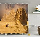BUZRL Dinosaur Shower Curtain, Aggressive Prehistoric Cartoon Animal Roaring Open Mouth Wildlife Image, Fabric Bathroom Decor Set with Hooks, 60W X 72L Inche, Coral Green Yellow