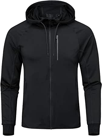 Mens Sports Jacket Lightweight Hooded Track Jackets Breathable Tight-Fit Running Hoodie Top